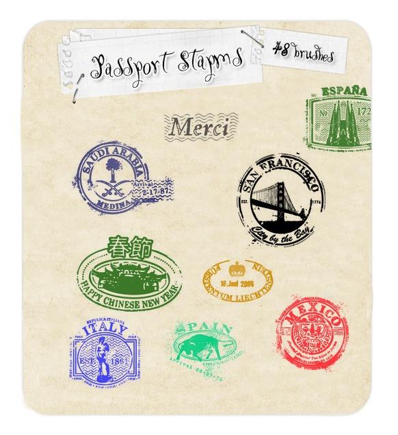 Passport Stamp Brushes Photoshop brush