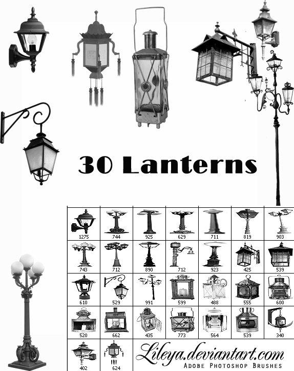 Old Lanterns Brush Set Photoshop brush