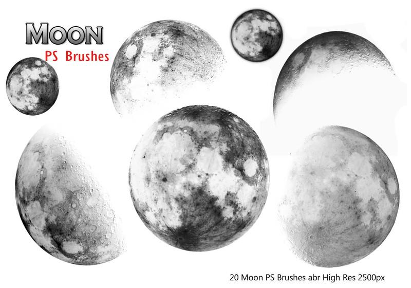20 Moon Ps Brushes Photoshop brush