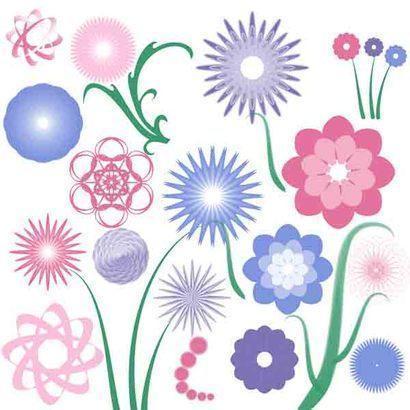 20 flower radials plus 4 stems Photoshop brush