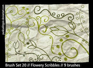 Flowery Scribble Photoshop Brushes Photoshop brush
