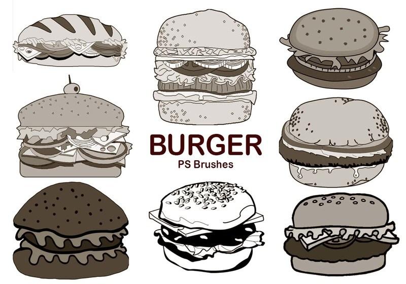 20 Burger PS Brushes abr. vol.5 Photoshop brush