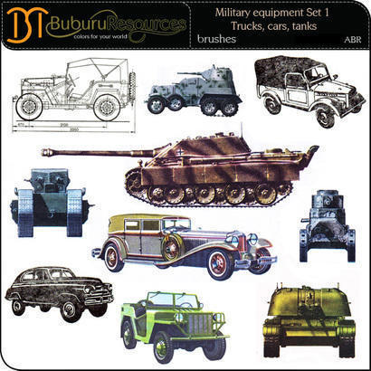 Military equipment Set 1 – Trucks, cars, tanks Photoshop brush