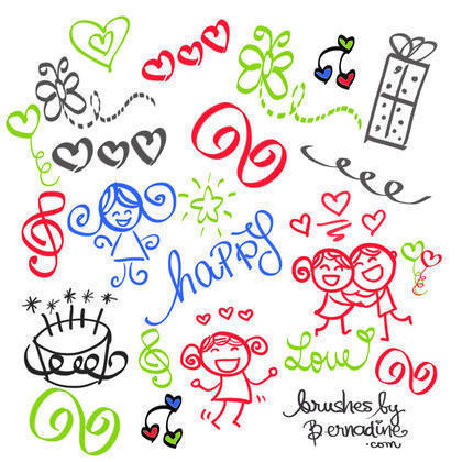 Happy Girly Girl Love Doodles Brush Set Photoshop brush