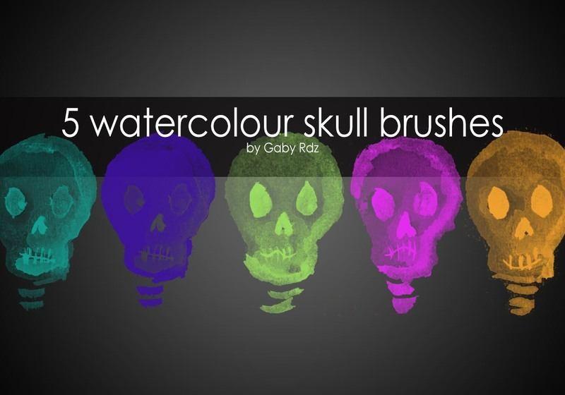 5 Handpainted Watercolour Skull Brushes Photoshop brush