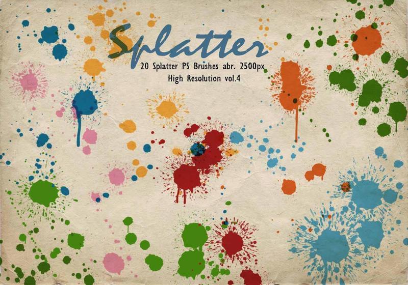 20 Splatter PS Brushes abr.vol.4 Photoshop brush
