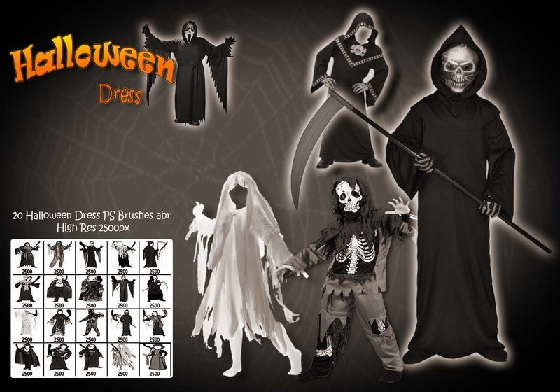 20 Halloween Dress Up PS Brushes abr Photoshop brush