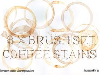 8 Coffee Stain Brushes Photoshop brush