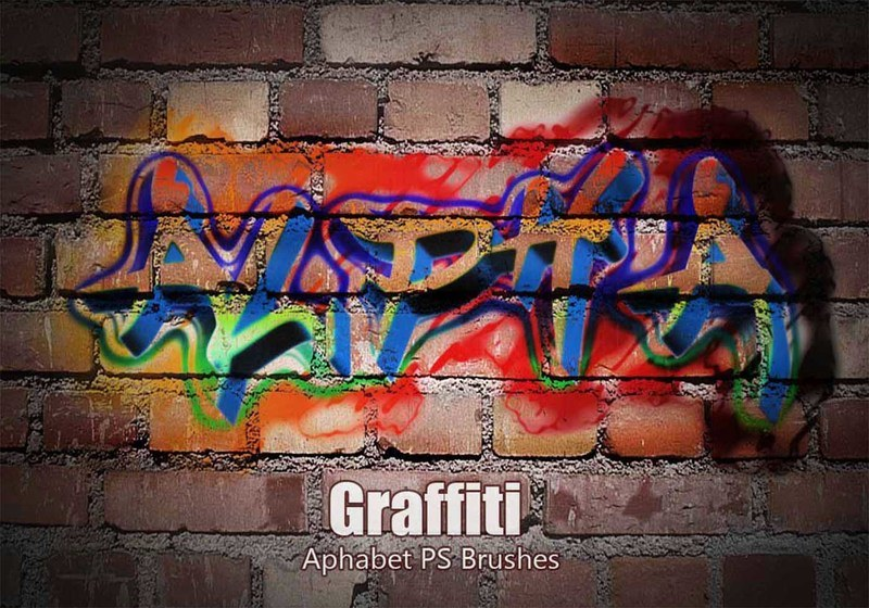 20 Aphabet Graffiti PS Brushes abr. Vol.3 Photoshop brush