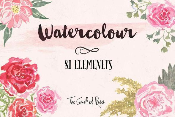 Watercolour Flower brushes - The Smell of Roses Photoshop brush