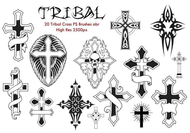 20 Tribal Cross PS Brushes abr. Photoshop brush