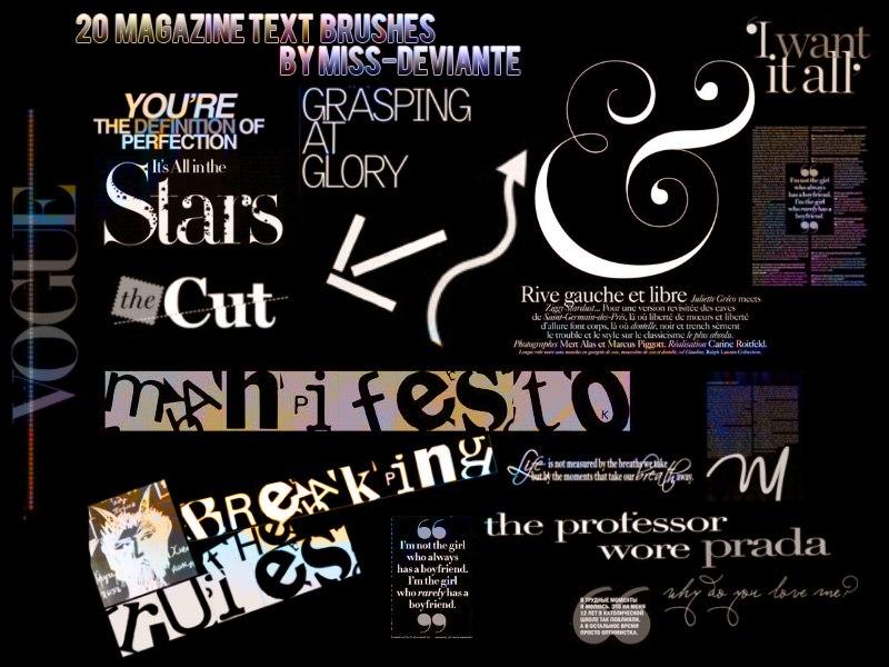 20 Magazine Text Brushes Photoshop brush