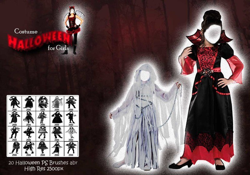 Halloween Costume for Girls PS Brushes abr Photoshop brush