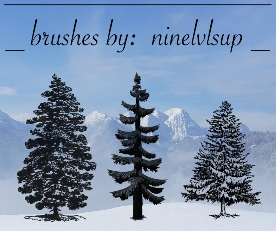 3 Pine Tree PS Brushes Photoshop brush