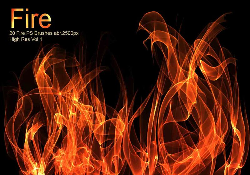 20 Fire PS Brushes abr.Vol.1 Photoshop brush