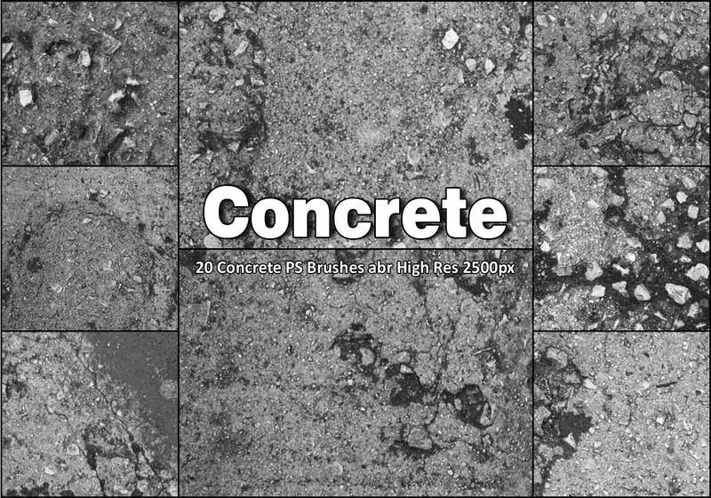 20 Concrete PS Brushes abr  Photoshop brush