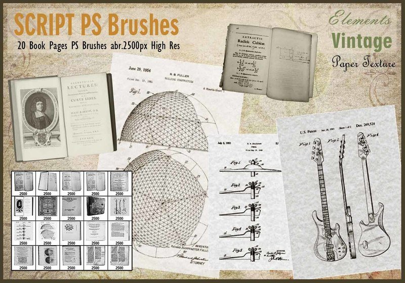 Vintage Book Pages PS Brushes abr. Photoshop brush