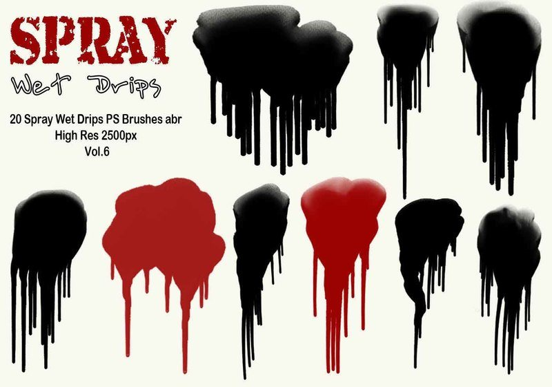 20 Spray Wet Drips PS Brushes Vol.6 Photoshop brush