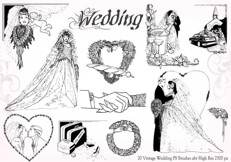 20 Vintage Wedding PS Brushes abr vol.6 Photoshop brush