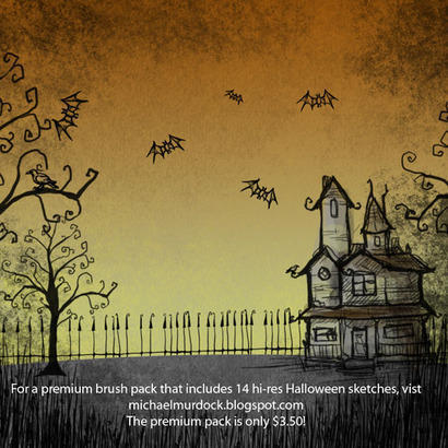 Halloween sketch brushes Photoshop brush