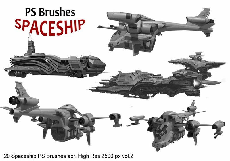 20 Spaceship PS Brushes abr. vol.2 Photoshop brush