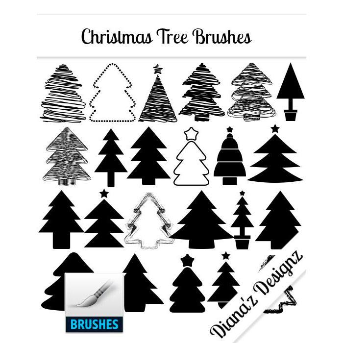 32 Christmas Tree Brushes Photoshop brush