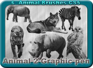 6 Animal Brushes Made With Graphic Pen 2 Photoshop brush