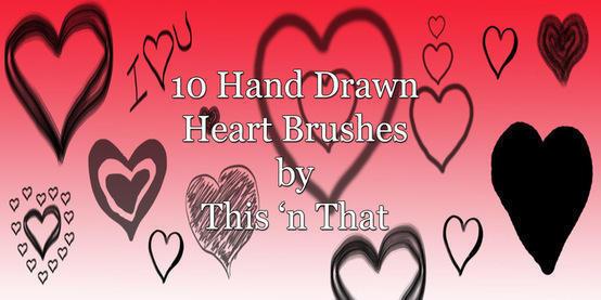 Hand Drawn Heart Brushes Photoshop brush