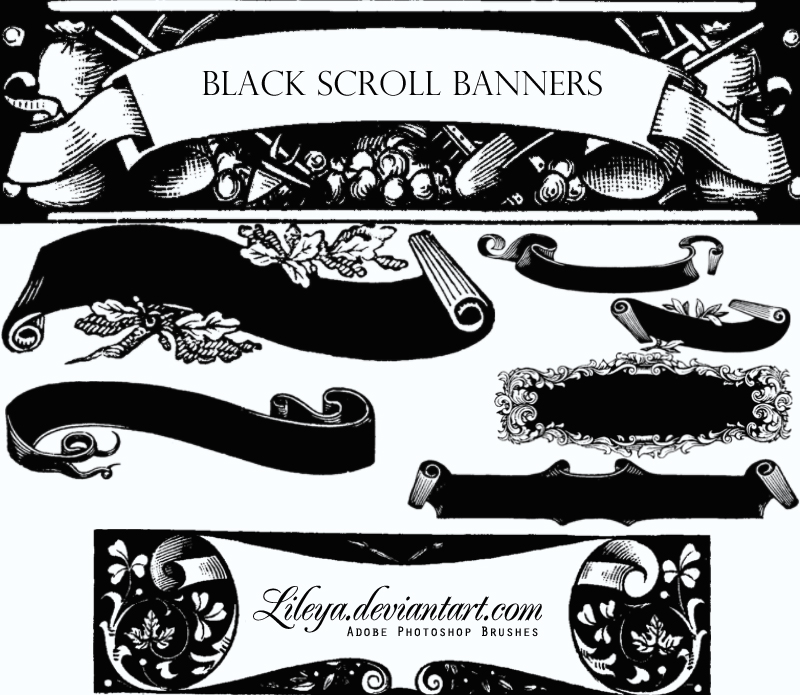 Black Scroll Banners Photoshop brush