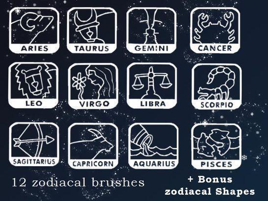 12 zodiacal brushes and shapes Photoshop brush