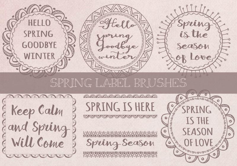 Spring Label Brushes Photoshop brush