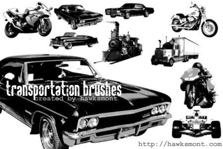 Transportation brushes Photoshop brush