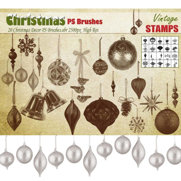 20 Christmas Decor Brushes Photoshop brush