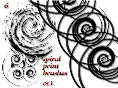6 spiral brushes Photoshop brush