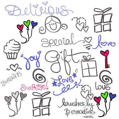 Cute, Sweet, Girly Girl Love Doodle Brushes Photoshop brush
