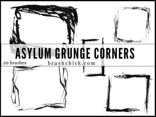Asylum Grunge Corner Brush Pack Photoshop brush