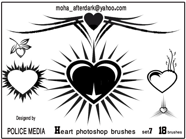 Heart brushes Set 7 Photoshop brush