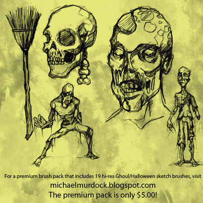 Ghoul/Halloween sketch brushes Photoshop brush