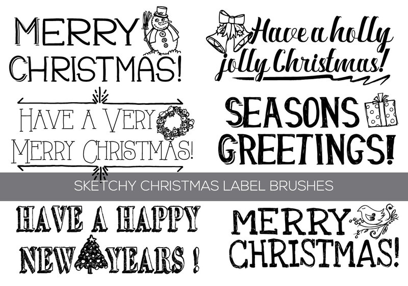 Hand Drawn Christmas Text Label Brushes Photoshop brush