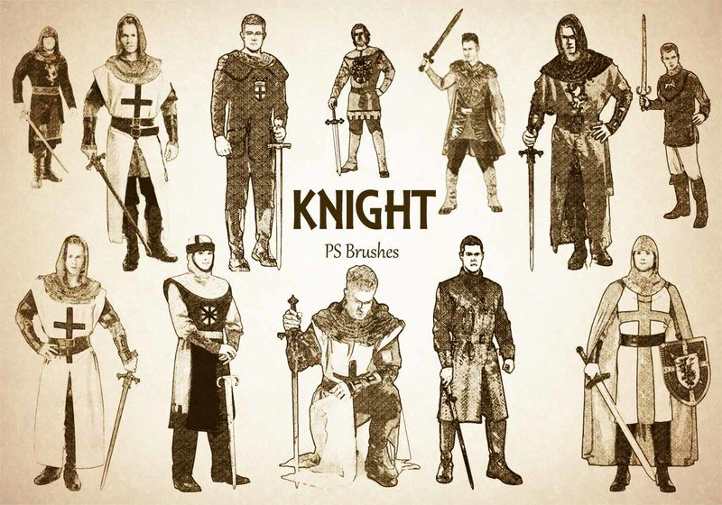 20 Engraved Knight PS Brushes abr.vol.6 Photoshop brush