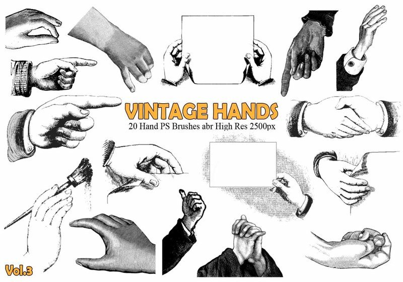 20 Vintage Hand PS Brushes abr.Vol.3 Photoshop brush