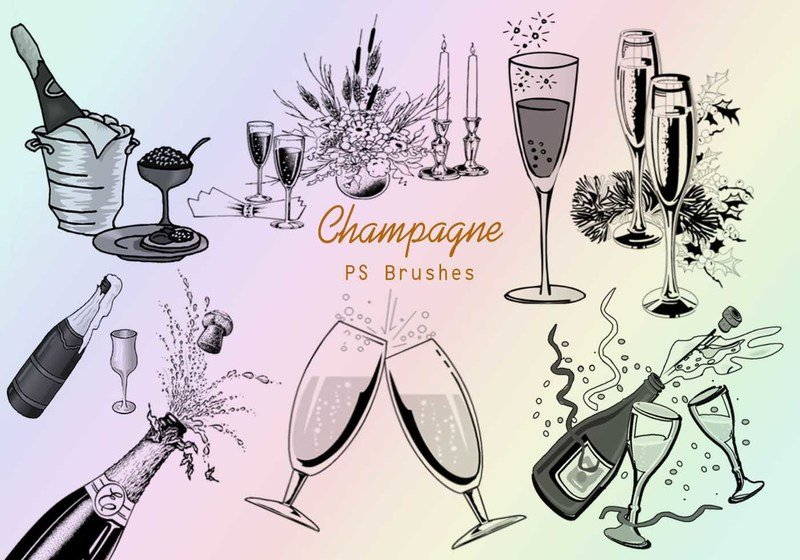 20 Champagne PS Brushes abr.vol.4 Photoshop brush