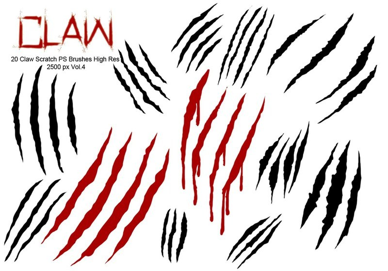 20 Claw Scratch PS Brushes abr. vol.4 Photoshop brush