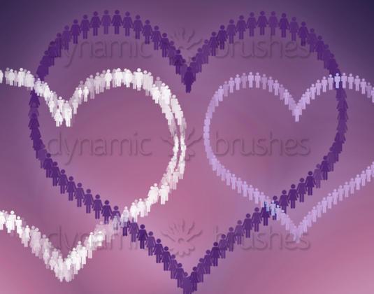 Heart Crowd Photoshop brush