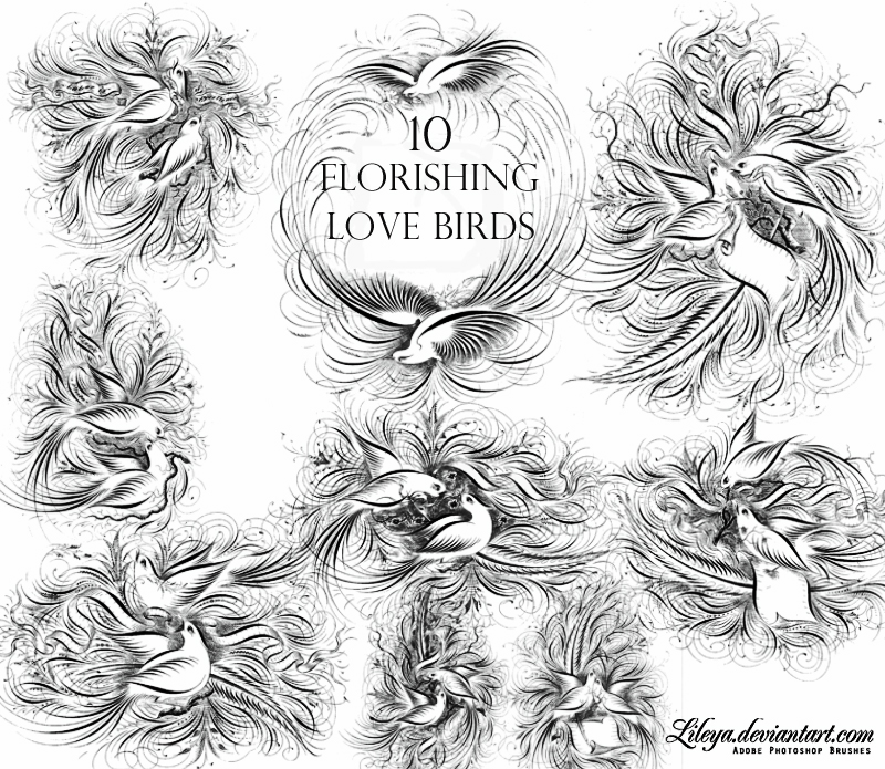 Flourishing Love Birds Photoshop brush