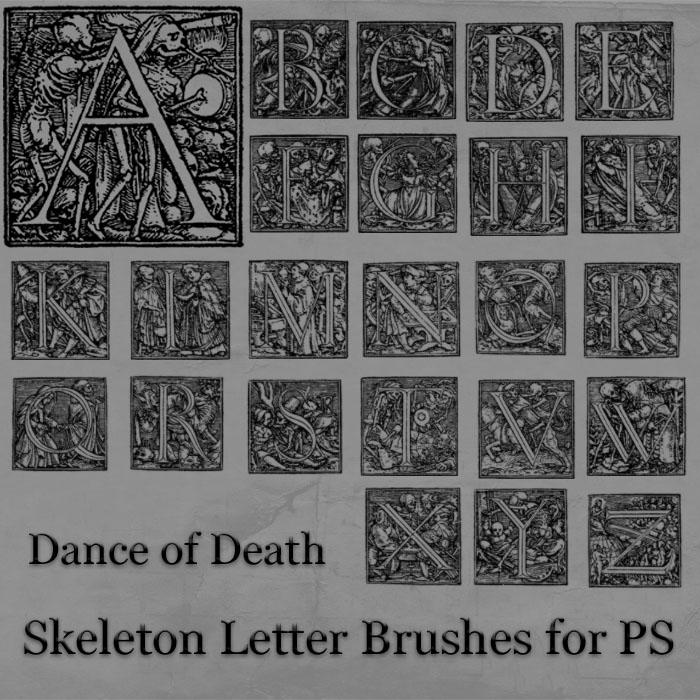 Skeleton Letter Brushes Photoshop brush