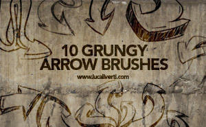 Grungy arrow brushes set Photoshop brush