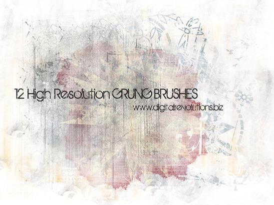 12 High-Resolution Grunge Texture Brushes Photoshop brush