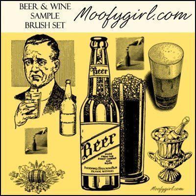 Beer and Wine Photoshop brush