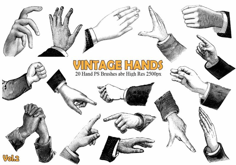 20 Vintage Hand PS Brushes abr. Vol.2 Photoshop brush